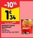 Spaghetti à la bolognaise offre à 1,34€