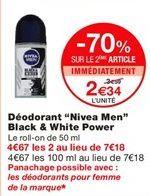"""Déodorant """"Nivea men"""" black & white power offre à 2,34€"""