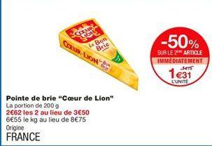 """Pointe de brie """"Coeur de Lion"""" offre à 1,31€"""
