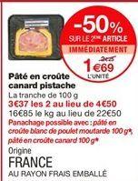 Pâté en croute canard pistache offre à 1,69€