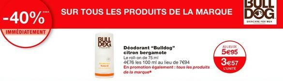 "Déodorant ""Bulldog"" citron bergamote offre à 3,57€"