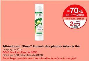 """Déodorant """"Dove"""" pouvoir des plantes arbre à thé offre à 2,73€"""