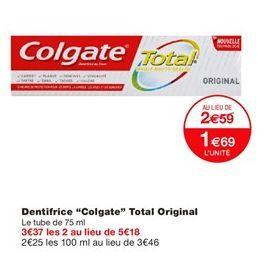 """Dentifrice """"Colgate"""" total original offre à 1,69€"""