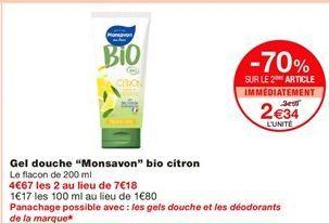 """Gel douche """"Monsavon"""" bio citron offre à 2,34€"""