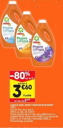 Lessive liquide Ariel offre à 3,6€