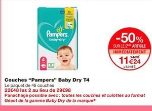Couches Pampers offre à 11,24€