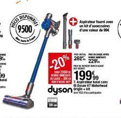 Aspirateur balai sans fil Dyson V7 Motorhead Origin + kit offre à 199,99€