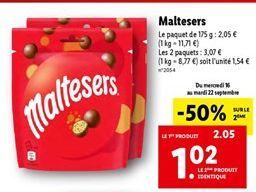 Chocolats Maltesers offre à 1,54€