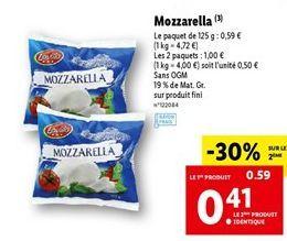 Mozzarella offre à 0,5€