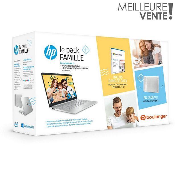 Ordinateur portable HP Pack 15s-fq1032nf+housse+Office 365 offre à 599€