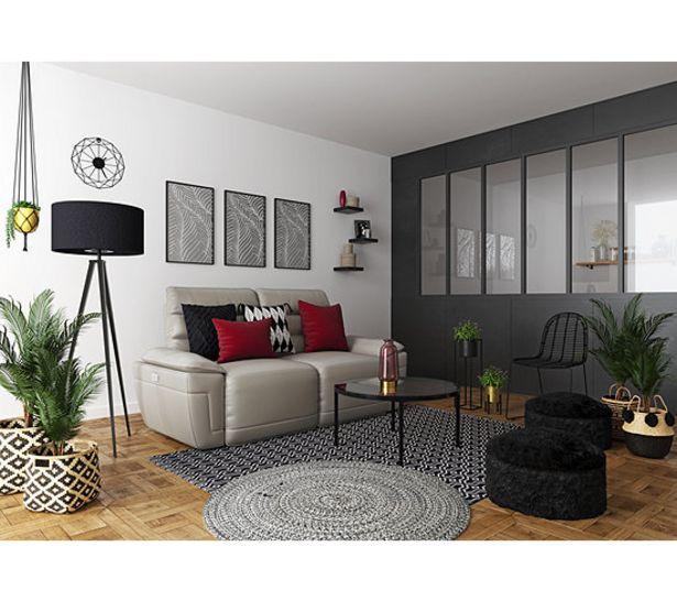 Canapé 3 places 2 relax électriques EVOGG cuir et croûte taupe gris offre à 1419€