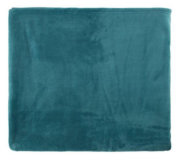 Plaid 220x240 cm TENDRESSE Bleu canard offre à 24,99€