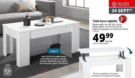 Table basse offre à 49,99€