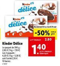 Gâteau au chocolat Kinder offre à 2,1€