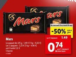 Barres de chocolat Mars offre à 1,12€