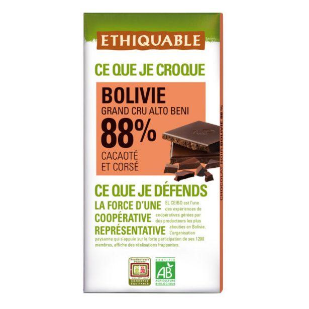 Chocolat noir 88% bio offre à 2,85€