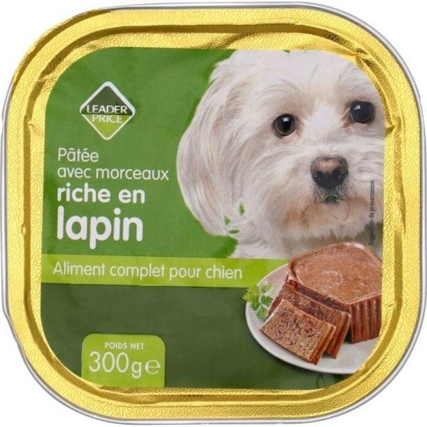 Barquette pour chien au lapin offre à 1,33€