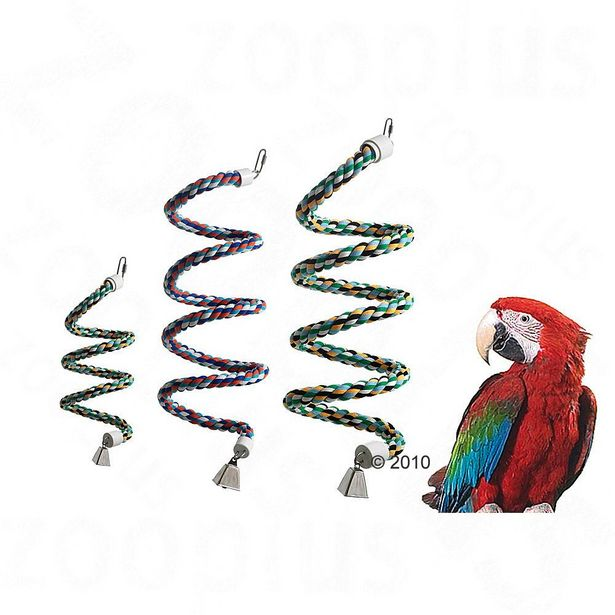 Jouet pour oiseaux spirale en corde taille M environ L 70 cm, corde 24 mm de diamètre offre à 9,99€