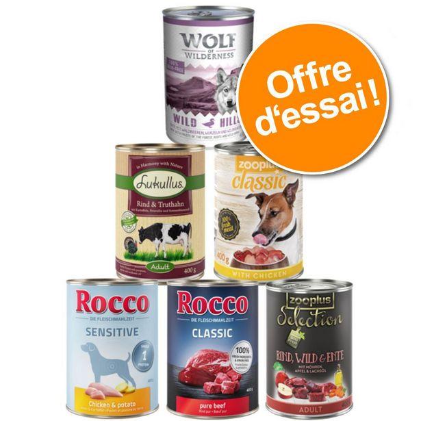 Lot mixte de nourriture humide premium pour chien - Lot mixte chiot sans céréales 6 x 400 g offre à 6,99€