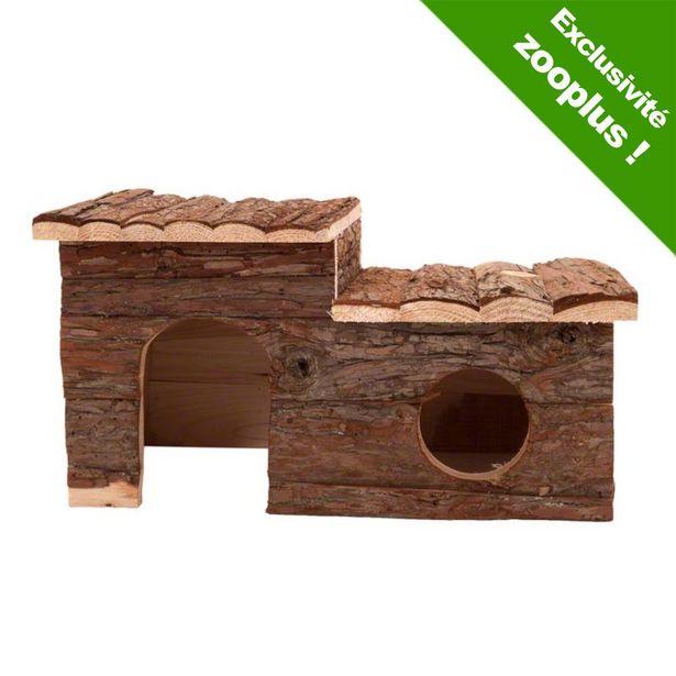 Maisonnette en rondins avec terrasse pour rongeur - L 43 x l 28 x H 22 cm offre à 15,99€