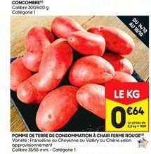 Pommes de terre de consommation  à chair ferme rouge offre à 0,64€