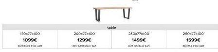 Table offre à 1099€