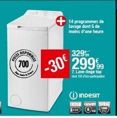 Lave-linge Indesit offre à 299,99€
