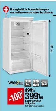 Réfrigérateur Whirlpool offre à 399,99€