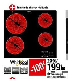 Vitrocéramique Whirlpool offre à 199,99€