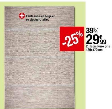 Tapis PURE gris 120x170 cm offre à 29,99€
