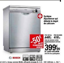 Lave-vaisselle Bosch offre à 399,99€