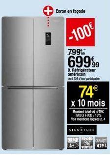 Réfrigérateur américain Signature offre à 699,99€