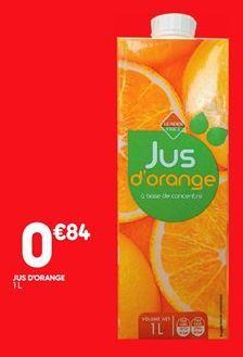 Jus d'orange offre à 0,84€