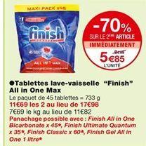 """Tablettes lave-vaisselle """"Finish""""  offre à 8,99€"""