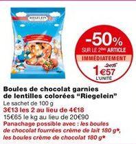 """Boules de chocolat """"Riegelein"""" offre à 2,09€"""