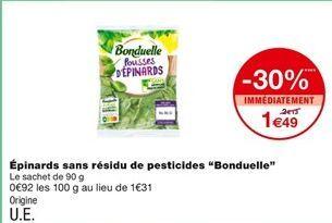 Épinards sans résidu de pesticides offre à 2,13€