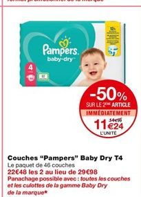 """Couches """"Pampers"""" T4 offre à 14,99€"""