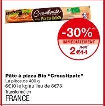 Pâte à pizza bio offre à 2,44€