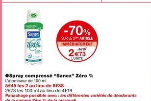 """Déodorant en spray compressé """"Sanexé Zero offre à 4,19€"""