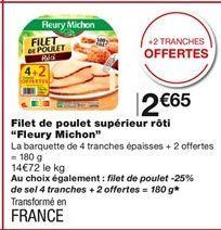 """Filets de poulet supérieur rôti """"Fleury Michon"""" offre à 2,65€"""