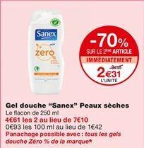 Gel douche Sanex offre à 3,55€