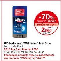"""Déodorant en stick """"Williams"""" offre à 3,99€"""