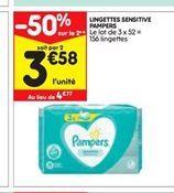 Lingettes sensitive Pampers offre à 4,77€