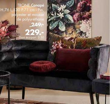 TRONE Sofa noir H 76 x Larg. 130 x P 71 cm offre à 229€