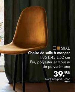 SILKE Chaise de salle à manger caramel H 86.5 x Larg. 43 x Long. 52 cm offre à 39,95€