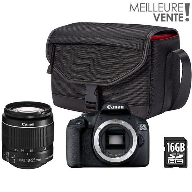 Appareil photo Reflex Canon EOS 2000D + EF-S 18-55mm + Etui + 16Go offre à 519€