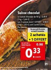 Suisse chocolat offre à 0,33€