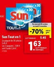 Sun tout en 1 offre à 1,63€