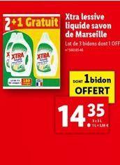 X-tra lessive liquide savon de marseille offre à 14,35€