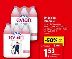Evian eau minerale offre à 1,53€